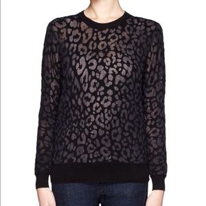 THEORY Jaidyn P Black Animal Print Sweater Size M